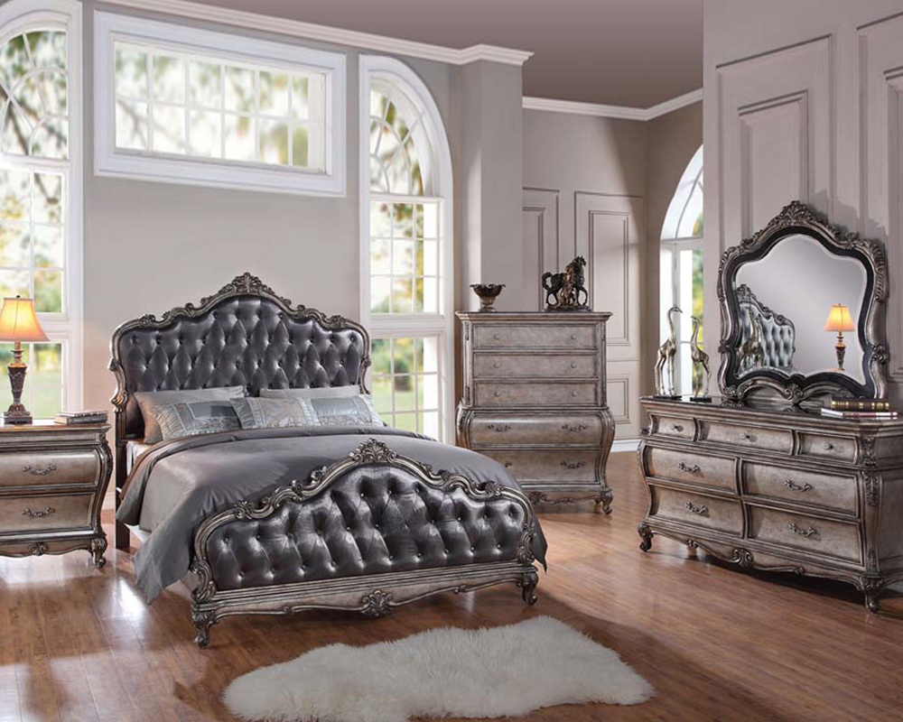 gray and white accent chairs outdoor australia classic style bedroom set chantelle by acme furniture ac20540set