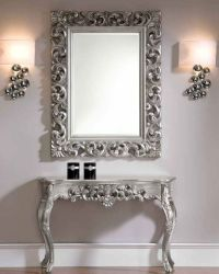 Classic Style Console Table and Mirror Set in Silver 33C31