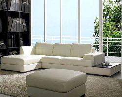 Contemporary Low Profile Leather Sectional Sofa Set 44LBO3893