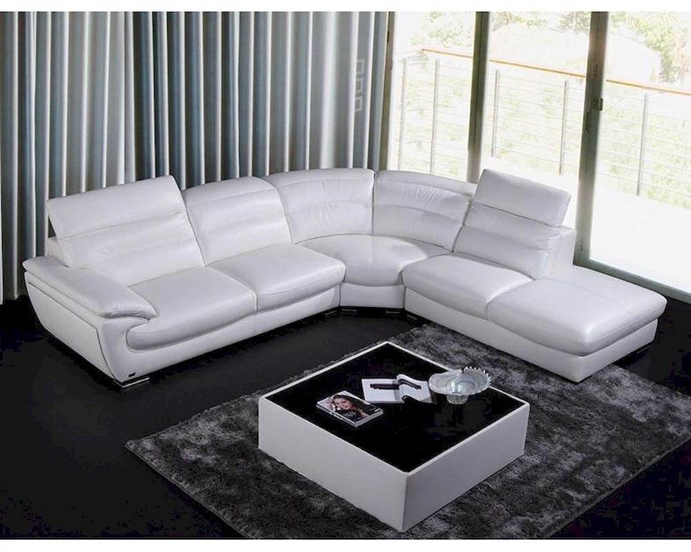 All scs leather sofas are available as 4, 3 and 2 seater sofas and have matching footstools available. Contemporary White Eco-Leather Sectional Sofa 44L6050