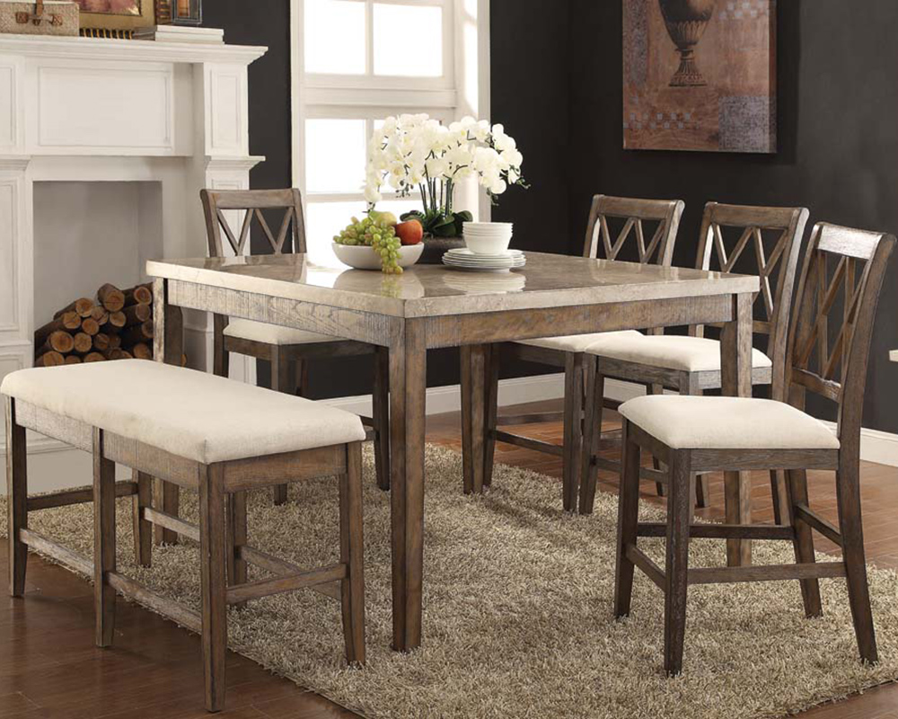 Counter Height Set W Marble Top Table Claudia By Acme
