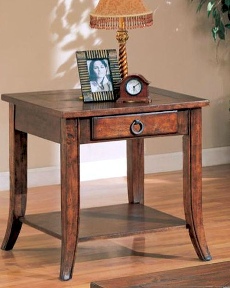 franklin end table with slate tile top