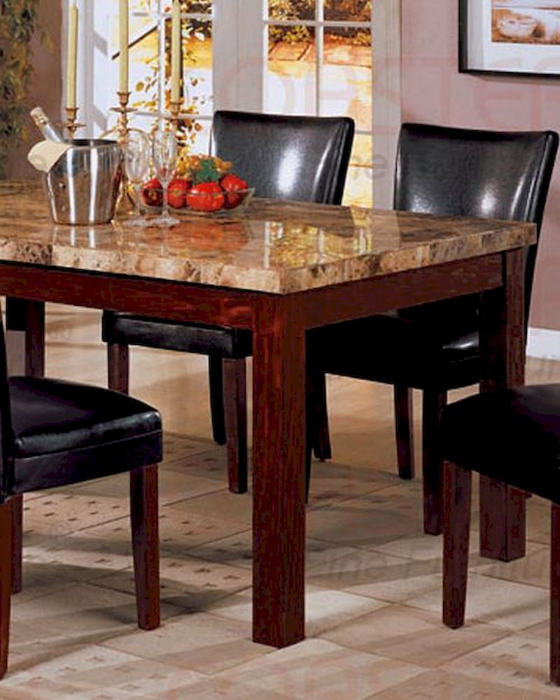 Marble Top Dining Table In Rich Cherry