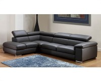 Modern Leather Sectional Sofa Set in Dark Grey Finish 33LS131