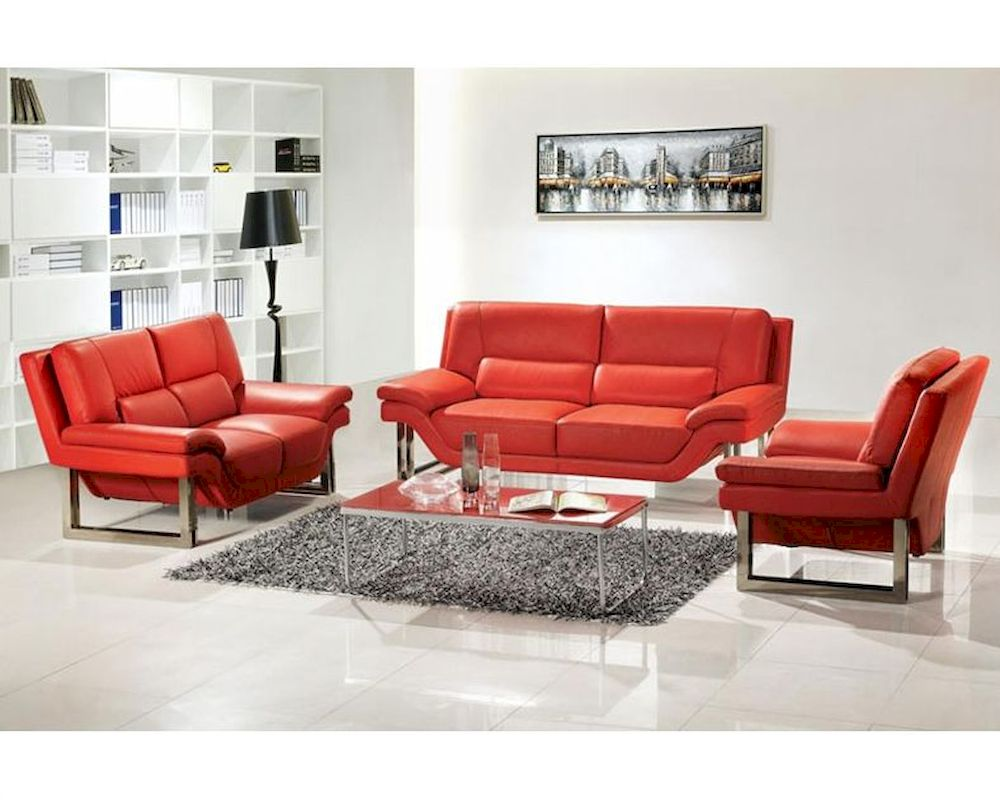 The curtains are white, the floor rug is white, and the sofa set is white. Modern Style Red or White Leather Sofa Set 44L3807-RED