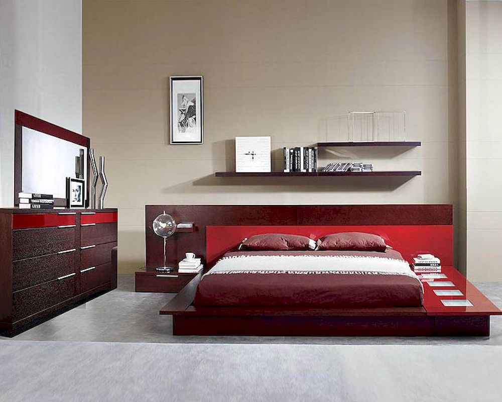 Modern Wenge Red Finish Bedroom Set Made in Italy 44B6511
