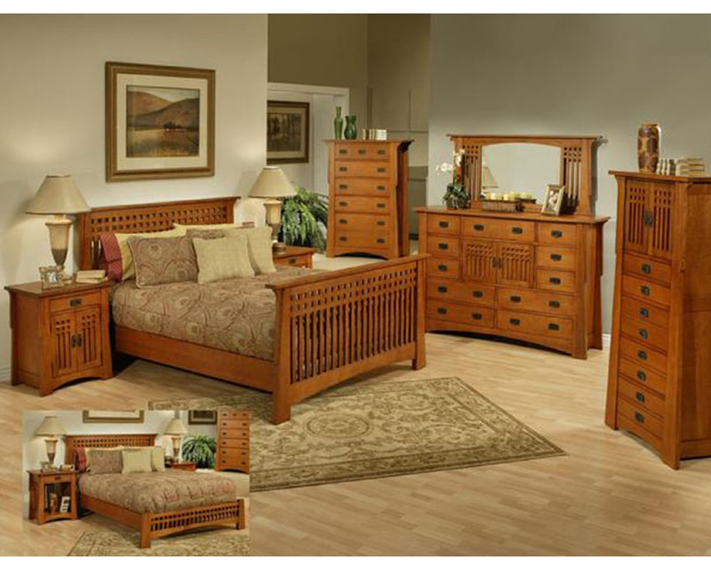 Oak Bedroom Set in Cherry Finish Bungalow by Ayca AYAP5502Set