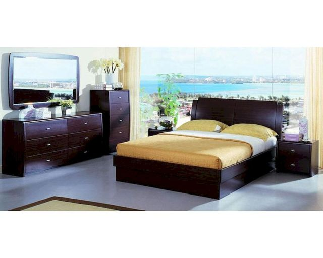 Platform Bed w/ Storage in Contemporary Style Bedroom Set ...