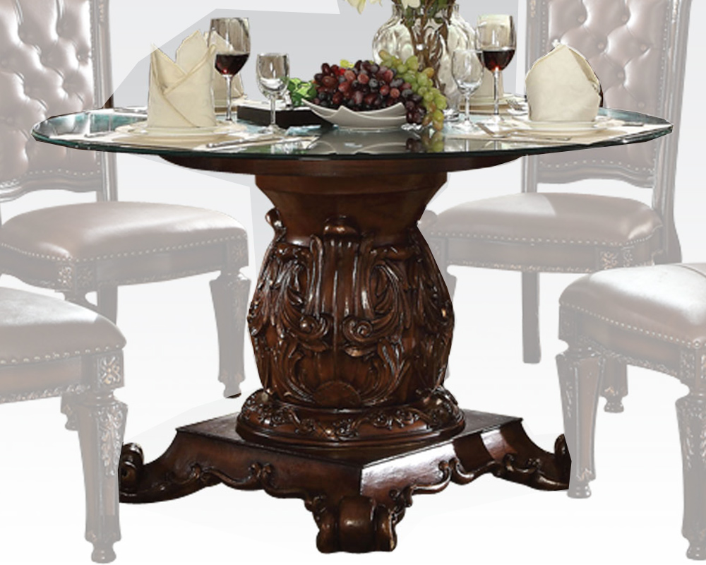 Round Glass Dining Table Vendome Cherry by Acme Furniture