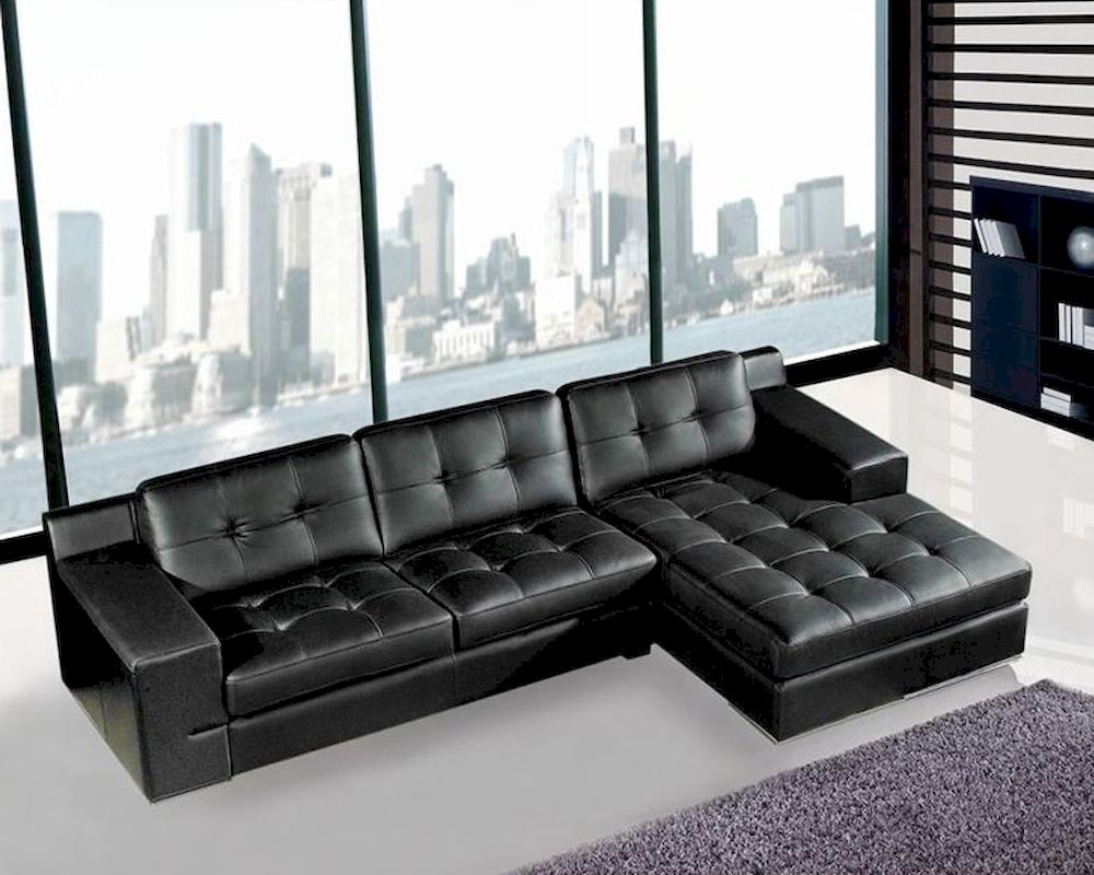 Sectional Sofa in Black Leather Modern Style 44L0345