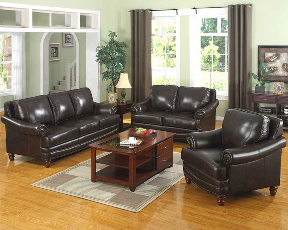 Lounge Couch Traditional 3 Pc Leather Sofa Set Mo-bol
