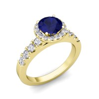 Build Your Own Engagement Ring in Halo Diamond Gemstone Ring