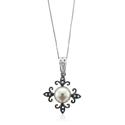 Diamond And Lavender Pearl Cross Necklace with 10k white