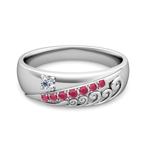 Wave Diamond And Ruby Mens Wedding Band Ring In Platinum
