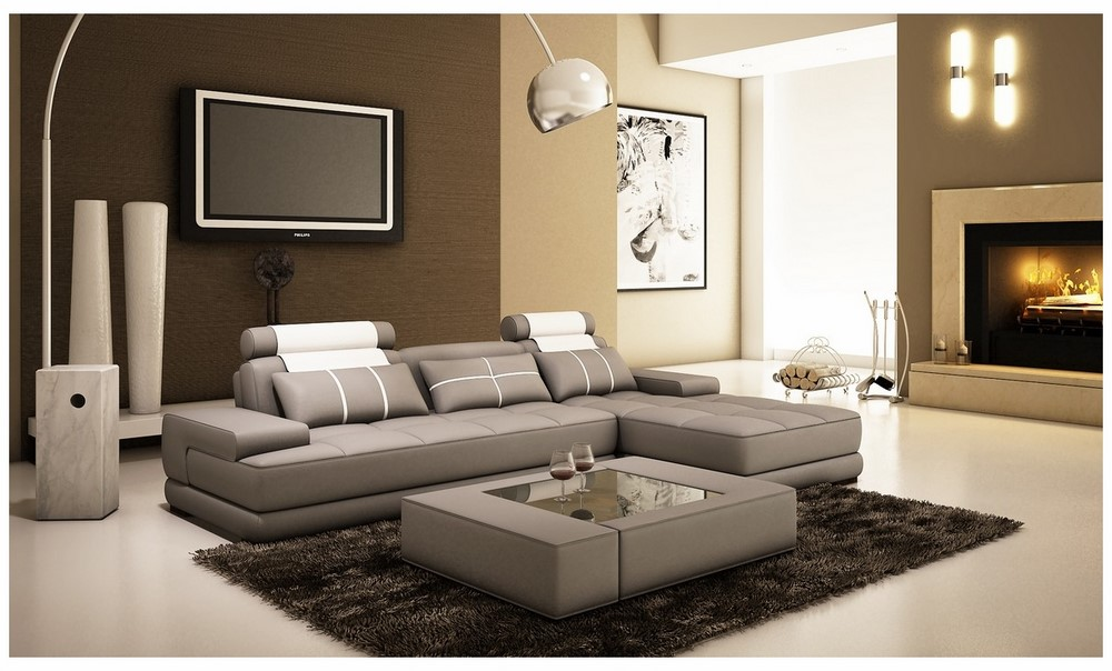 t35 mini modern white leather sectional sofa loft softline divani casa 5005a grey and bonded w coffee table