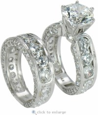 Claudina 3 Carat Round Cubic Zirconia Wedding Set with ...