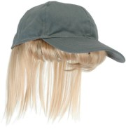 baseball hat with blonde wig