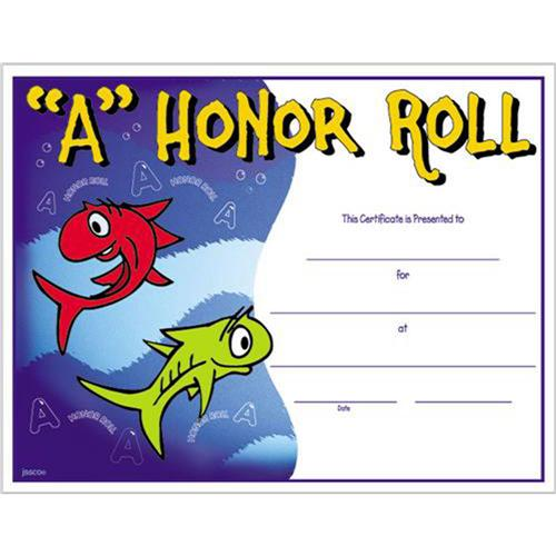 honor roll certificates for elementary school