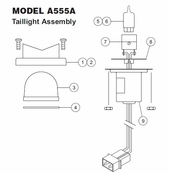 Whelen Model A555A Taillight Assembly Parts List from