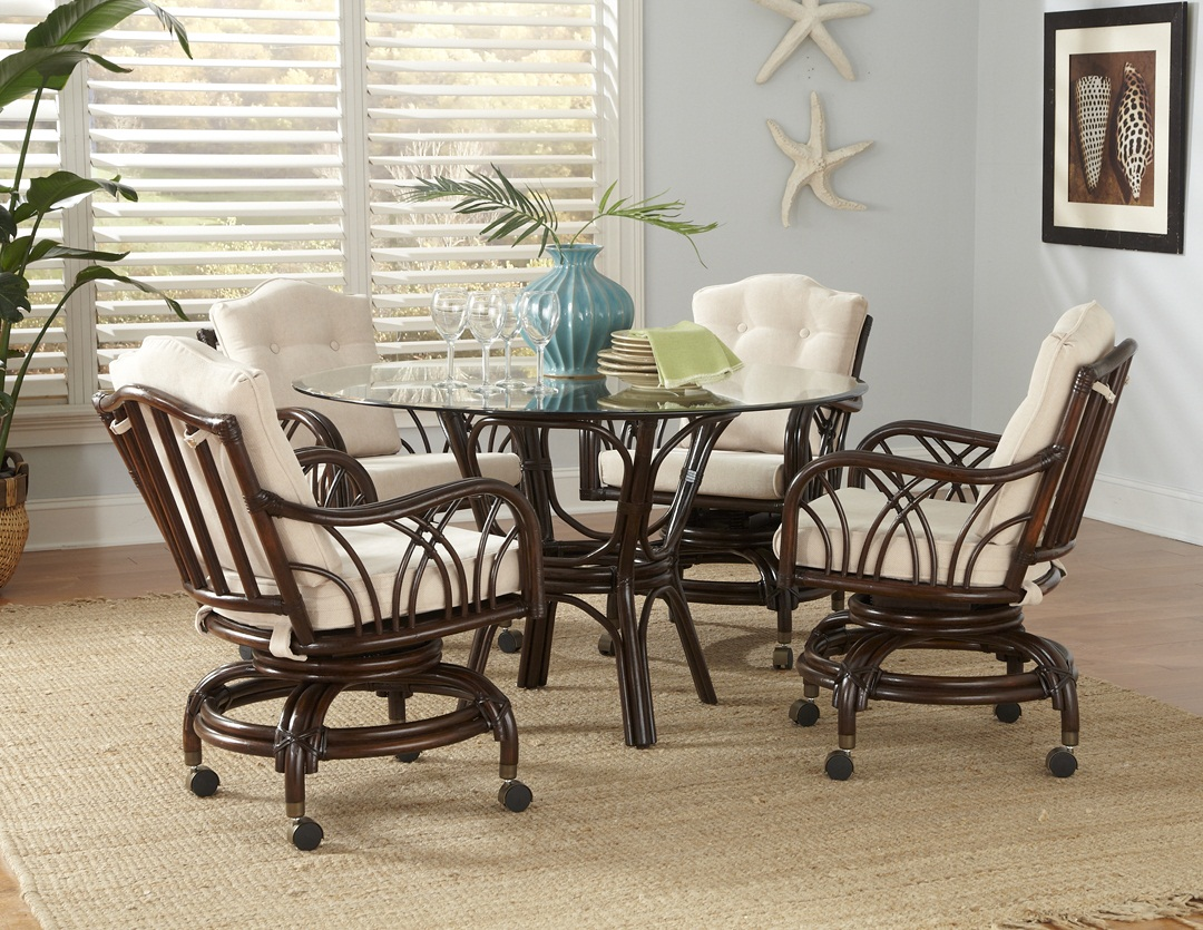 Swivel Dining Chairs With Casters Rattan Swivel Dining Set