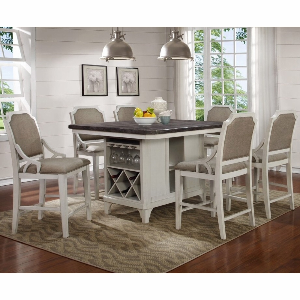 counter height arm chair lounge vintage avalon - mystic cay kitchen island with 6 gathering chairs d0042n-kib_kit_gc_gc_gc