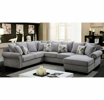 skyler gray fabric raf sectional oversized by furniture of america