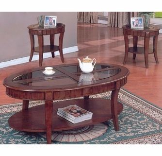 marlee 3 pc cherry wood table set w glass insert by asia direct
