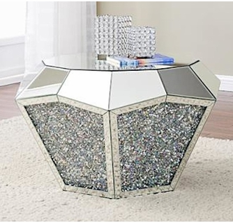 noralie mirrored coffee table with glass top by acme