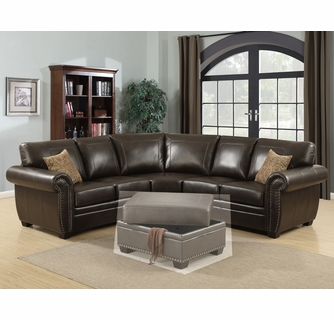 louis 3 pc brown leather sectional sofa oversized by ac pacific