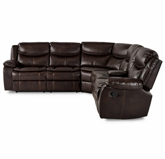 bastrop 3 pc brown manual recliner sectional sofa by homelegance