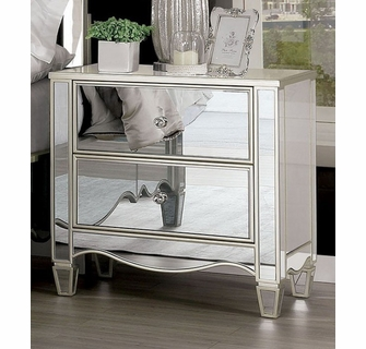 eliora silver mirrored 2 drawer nightstand by furniture of america