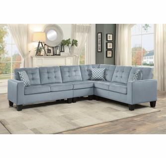 lantana 4 pc gray fabric tufted sectional sofa by homelegance