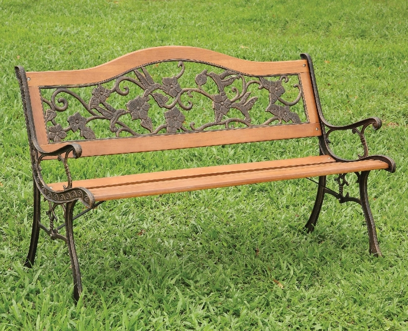 alba antique oak wood patio bench by furniture of america