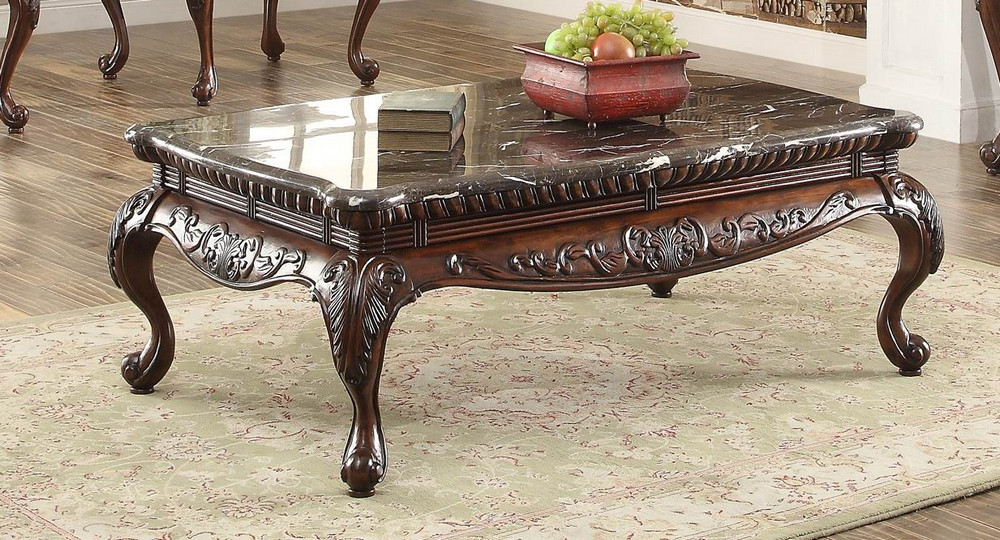 mariacarla brown wood coffee table with marble top by homelegance
