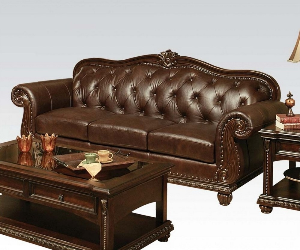 anondale cherry top grain leather match sofa oversized by acme