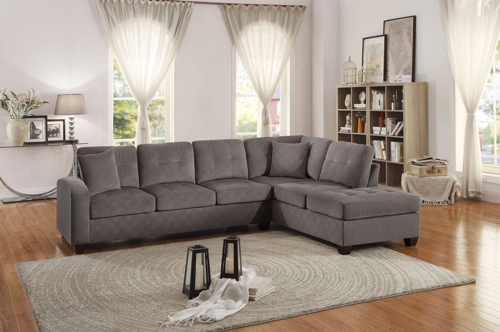 emilio 2 pc taupe fabric reversible sectional sofa by homelegance