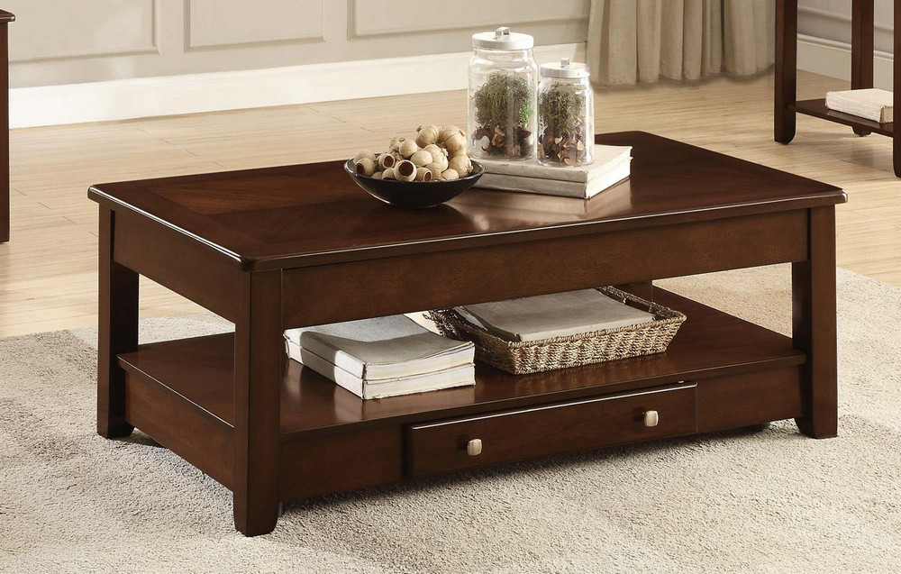 ballwin brown wood lift top cocktail table by homelegance