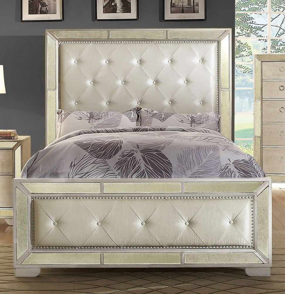 loraine champagne queen bed with mirror panels by furniture of america