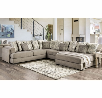 angelia 3 pc light gray chenille raf sectional by furniture of america