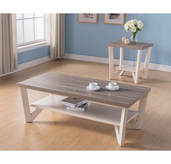 isa dark taupe ivory wood end table with shelf by id usa