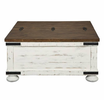 signature design wystfield white brown storage coffee table by ashley