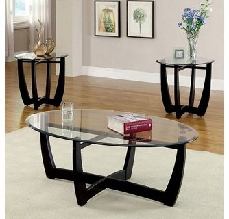 dafni 3 piece black glass wood table set by furniture of america