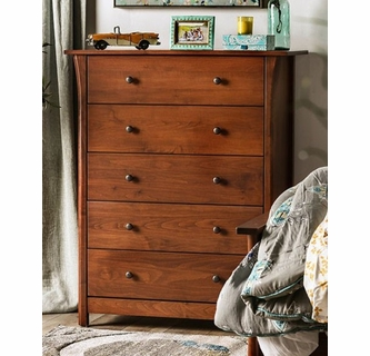 keizer cherry wood chest with 5 drawers by furniture of america