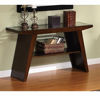 janiya dark brown cherry wood console table w glass top by asia direct