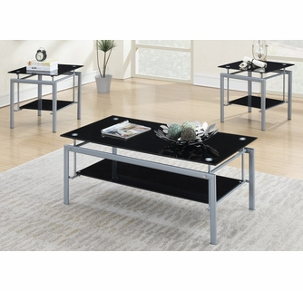 adel 3 pc black glass metal table set with shelves by poundex