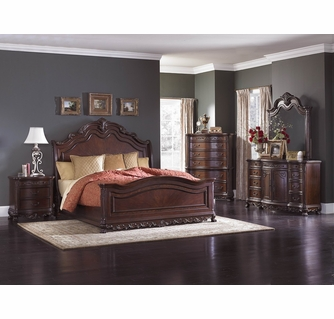 deryn park 7 pc cherry wood king sleigh bedroom set by homelegance