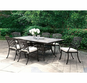 charissa black metal patio table w mosaic top by furniture of america