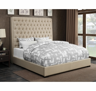 camille cream fabric queen bed with extra tall headboard by coaster