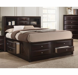emily dark cherry wood king captains bed by crown mark