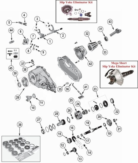 New Process NP231 Transfer Case Parts, Jeep Wrangler, Cherokee